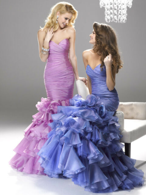 Mermaid Organza Ballgown/Evening/Formal/Party/Prom Ruffle Dress/SZ 6-8-10-12-14