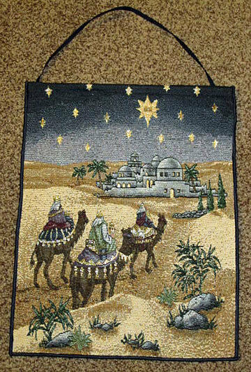 It Came To Pass ~ Wise Men Christmas Tapestry Bannerette Wall Hanging w/Lights