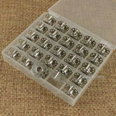 25Pcs Empty Metal Bobbins Spool with Case Box for Brother Janome Singer Elna