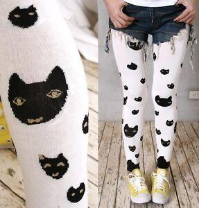 Japan-Kawaii-Fruits-Kera-Winter-Thermal-Knit-Ankle-Legging-Pants-Black-Kitty-Cat