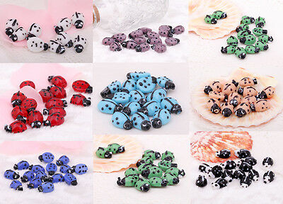 10Pcs Charms Animals Spacer Beads Lampwork Glass Spot Ladybird Findings 17x11mm