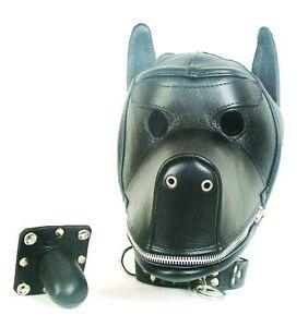Real-Black-Leather-Dog-Puppy-Bondage-Hood-Mask-Mouth-Gag-D1BLK