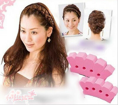 1 Pc Pink Soft Convenience 4 Holes Form Firm Plait Tools Hair Braider
