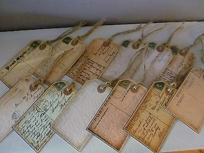 SHABBY CHIC PERSONALISED WEDDING GIFT TAGS/FAVOUR /PLACE CARDS VINTAGE POSTCARDS