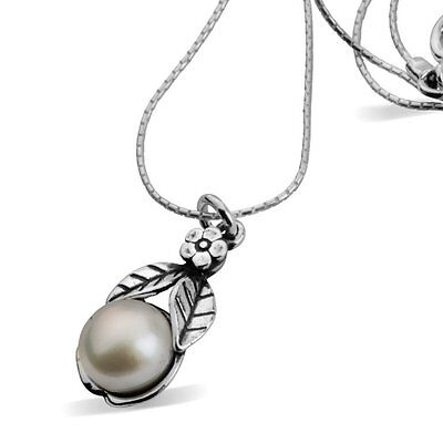 "N02097SP SHABLOOL ISRAEL Didae 18"" Pearl 925 Sterling Silver Flower Necklace"