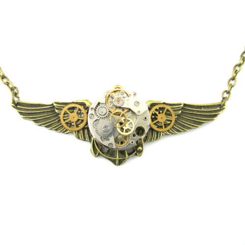 steampunk rock punk gothic pendant chain watch parts wings men women diy jewelry