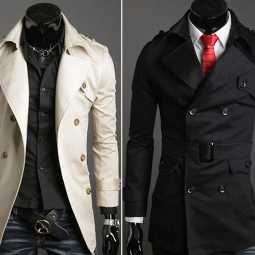 NWT Mens Slim Fit Double Breasted Trench Coat SLIM FIT Outerwear Jacket in S-XL