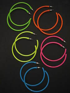 Hoop-Earrings-Neon-1980-039-s-Retro-Large-Bright-Funky-Ladies-Girls-Party-Rave-Emo