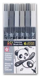 Sakura-KOI-Coloring-Brush-Pens-Grays-6-color-set-XBR-6SA