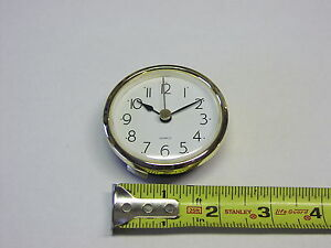 "CLOCK FIT UP White Dial, easy to read arabic, Insert 2 7/16"" dia, NEW, (#262)"
