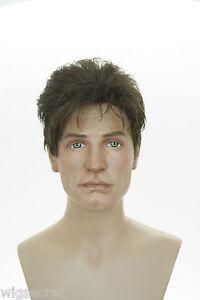 light chestnut brown brunette short wavy straight men wig