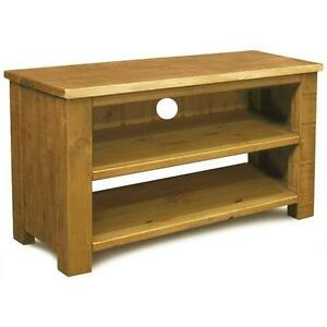Solid Wooden Tv Stand Av Cabinet Entertainment Unit Rustic Plank Pine Furniture Ebay