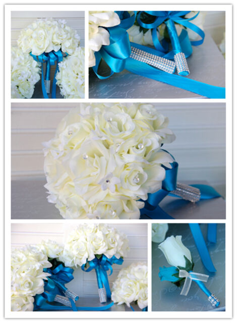 18pc Cream/Ivory Turquoise Roses Wedding Bridal Bouquet Corsage Boutonnieres
