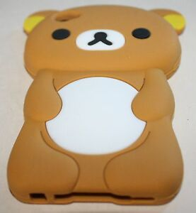 iPOD-TOUCH-4-G-4TH-GEN-BROWN-TAN-TEDDY-BEAR-SOFT-RUBBER-SKIN-CASE-COVER