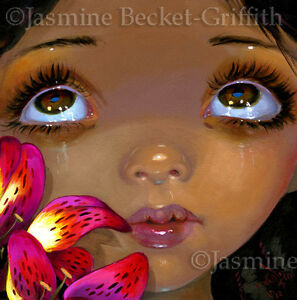 Jasmine-Becket-Griffith-ORIGINAL-PAINTING-Fairy-Face-206-big-eye-lowbrow-pop-art