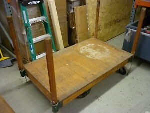 Image Is Loading VINTAGE ANTIQUE INDUSTRIAL FACTORY NUTTING LUMBER RAILROAD  CART