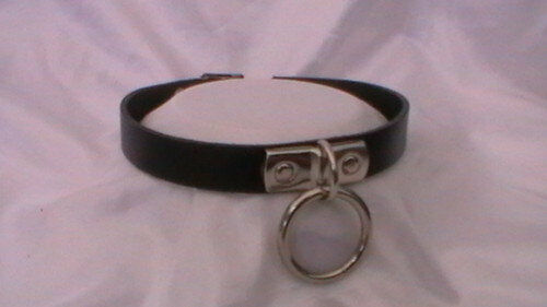 black leather collar large o ring  fetish bondage 12-15 inch, 15mm wide