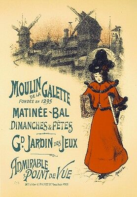 Moulin Galette Vintage French France Poster Picture Print Art Advertisement