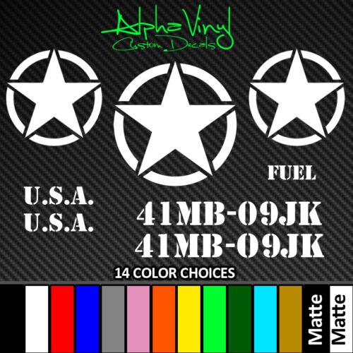 Military Decal Set 8 decals 14 color options Fit Jeep Wrangler TJ JK XJ CJ YJ JL