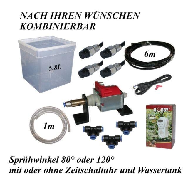 Beregnungsanlage Terrarium - Bausatz mit 4 Düsen 80°/120° - Zeitschaltuhr - Tank