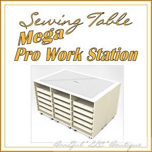 BonEful-NEW-Large-Sewing-Table-Quilt-ing-Desk-Storage-Drawers-Rotary-Cutting-Mat