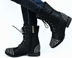 New Womens BG28 Black Studded Spike Mid Calf Military Combat Boots ...