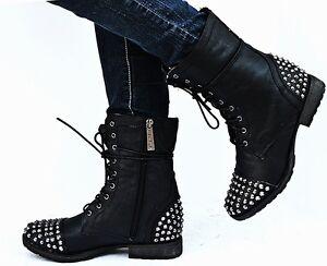 New Womens BG28 Black Studded Spike Mid Calf Military Combat Boots ...