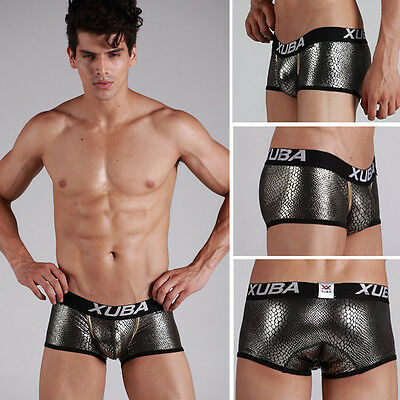 New XUBA Stylish Men's Snake Print Underwear Fashion Charming Boxer Briefs Black