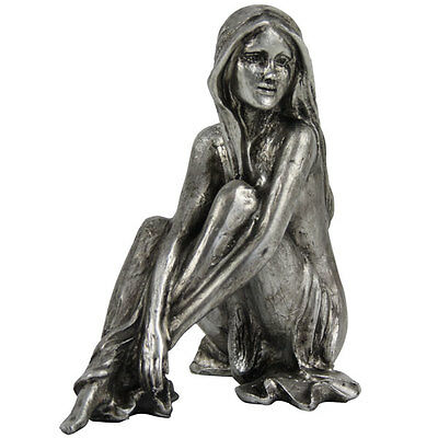 PEWTER SILVER EFFECT SITTING LADY FIGURINE ORNAMENT SCULPTURE STATUE