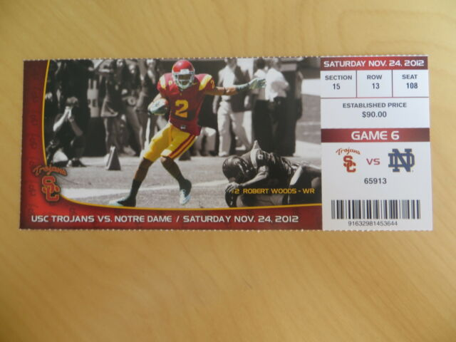 USC TROJANS FOOTBALL TICKET STUB vs. NOTRE DAME -- 11/24/2012