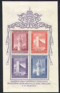 Vatican 1958 EXPO/Exhibition/Buildings/Architecture/Pope Pius XII 4v m/s n37355