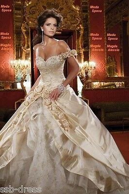 New Champagne Wedding Dress Stock Size:6 8 10 12 14 16