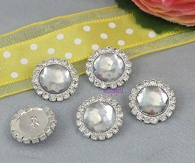 10 Clear Rhinestone Crystal Shank Silver Tone Button Sewing Embellishments Craft