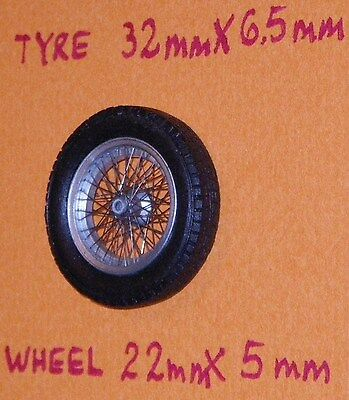 1/24 hand laced wire spoked wheels for GP sports cars fully assembled sets of 2