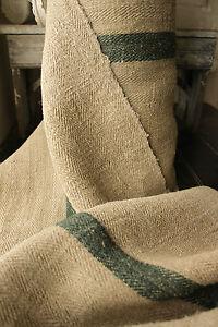 Antique-Vintage-STAIR-RUNNER-HEMP-fabric-DARK-GREEN-per-1YD-length-LOVELY