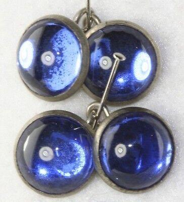 VINTAGE 1920'S ART DECO BLUE MIRROR GLASS CUFFLINKS