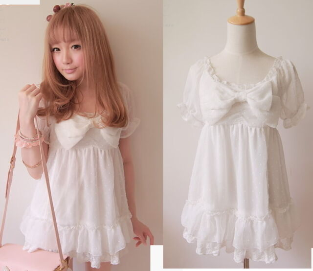 Kawaii Trendy Princess Cute Sweet Dolly Gothic Punk Lolita Chiffon Shirt top L