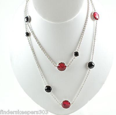"IPPOLITA Sterling Silver Wonderland Long Chain Necklace Black Onyx Red Rose 40"""