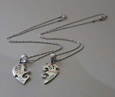 Split Heart Friendship/Best Friends Forever/Memorable Love Silver Pewter Pendant