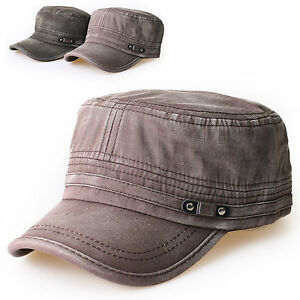 Details about New Mens Cadet Military Hat Cap Trucker Hat Visor Unisex  Black Brown 4b305630f29