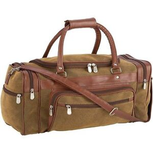 "Brown 23"" Faux Leather Carry-On Duffle Bag Luggage Men Travel ..."