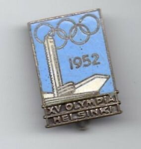 Details about 1952 OLYMPIC GAMES HELSINKI VINTAGE ENAMEL PIN BADGE BUTTON