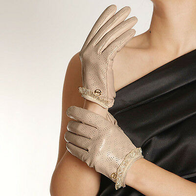 ELMA Lady's Perforated Nappa leather Gloves Gold Plated Logo Curved seaming