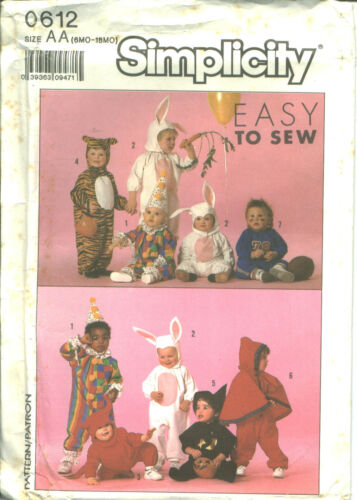 S 9331 sewing PATTERN Clown Tiger Bunny Devil Witch Ball Player sew BABY COSTUME
