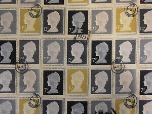 PRESTIGIOUS-FIRST-CLASS-CHARCOAL-STAMPS-BLACK-GREY-YELLOW-COTTON-CURTAIN-FABRIC