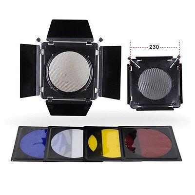 New Metal Barn Door Filter Kit Honeycomb grid for Elinchrom Standard Reflector