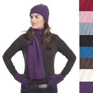 3pc-Chenille-Hat-Gloves-amp-Scarf-Set-Ladies-Soft-Warm-Fine-Knit-Choose-Color