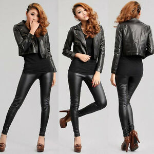 Creative  Motorcycle Tightfitting PU Leather Pants Black Women39s Leather Pants