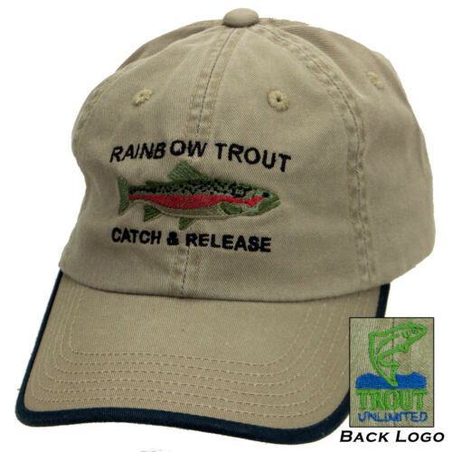 Rainbow Trout Catch and Release Cap with Embroidered Trout Unlimited Logo