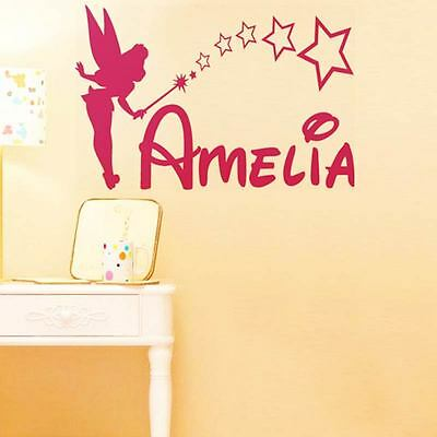 TINKERBELL Personalised NAME Disney style Sticker wall art fairy car GIRL decal2